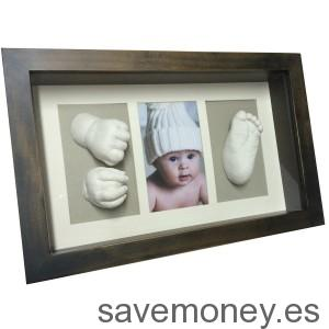 Marco huellas del bebé en 3D wengue y gris de Moldeartebaby