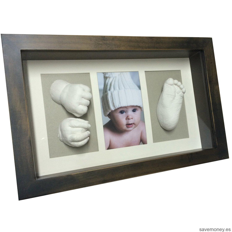 Marco huellas de bebé en 3D wengue y gris de Moldeartebaby