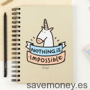 "Cuaderno de notas, diseño de ""nothing is impossible"" de Mr. Wonderful"