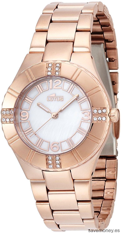 Reloj de cuarzo de color oro rosa de Lotus