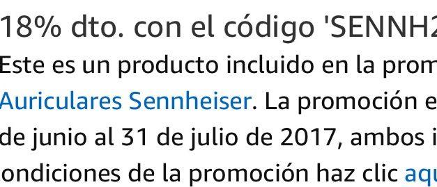 Cupón Descuento Amazon: 18% de Descuento en Auriculares Sennheiser