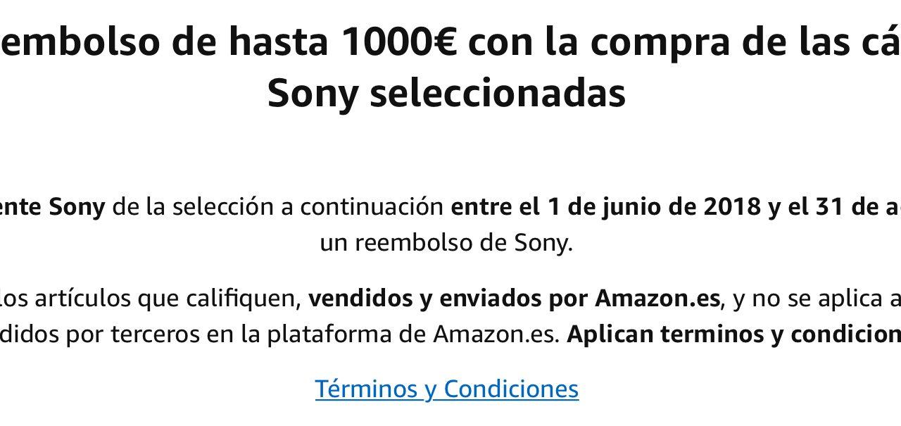 Promoción Sony: Consigue hasta 1000€ de Reembolso